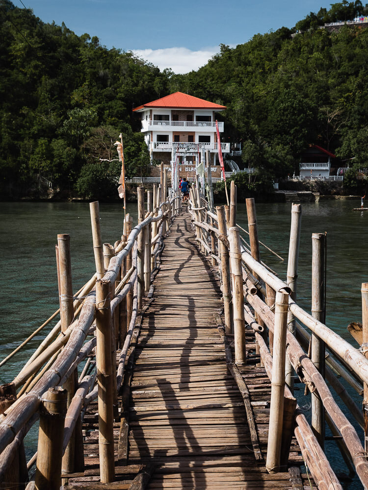The walkway to Tinagong Dagat over water