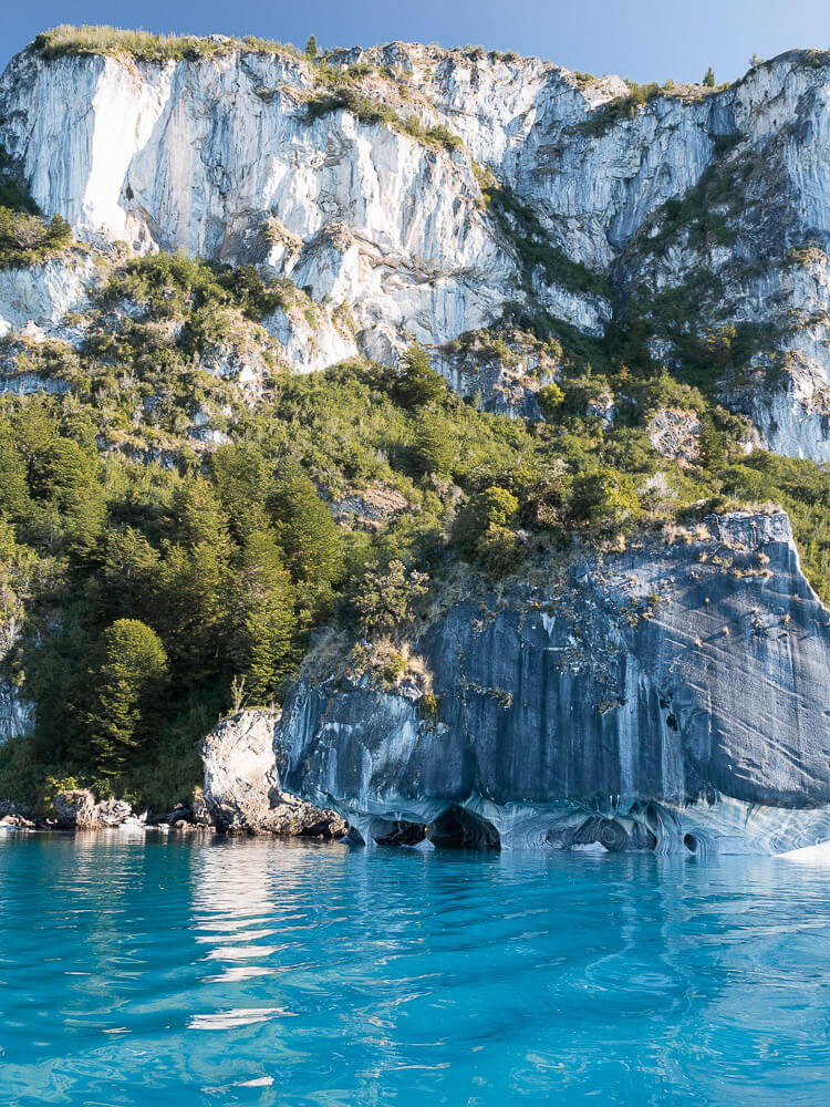 Marble Caves of Patagonia with bright blue lake waters