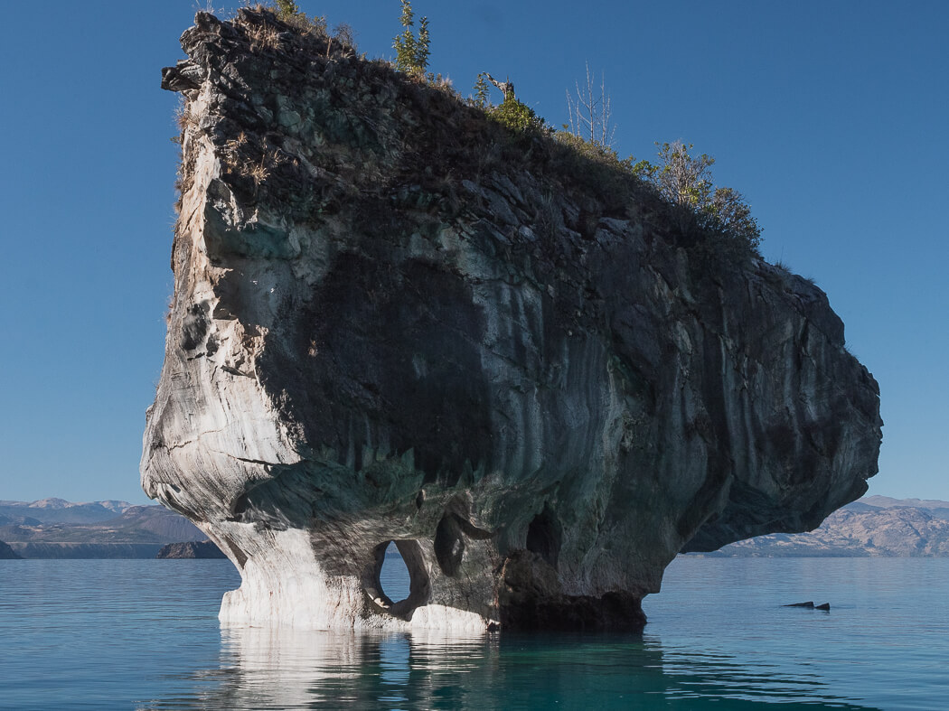 The Marble Cathedral protruding from Lago General Carrera