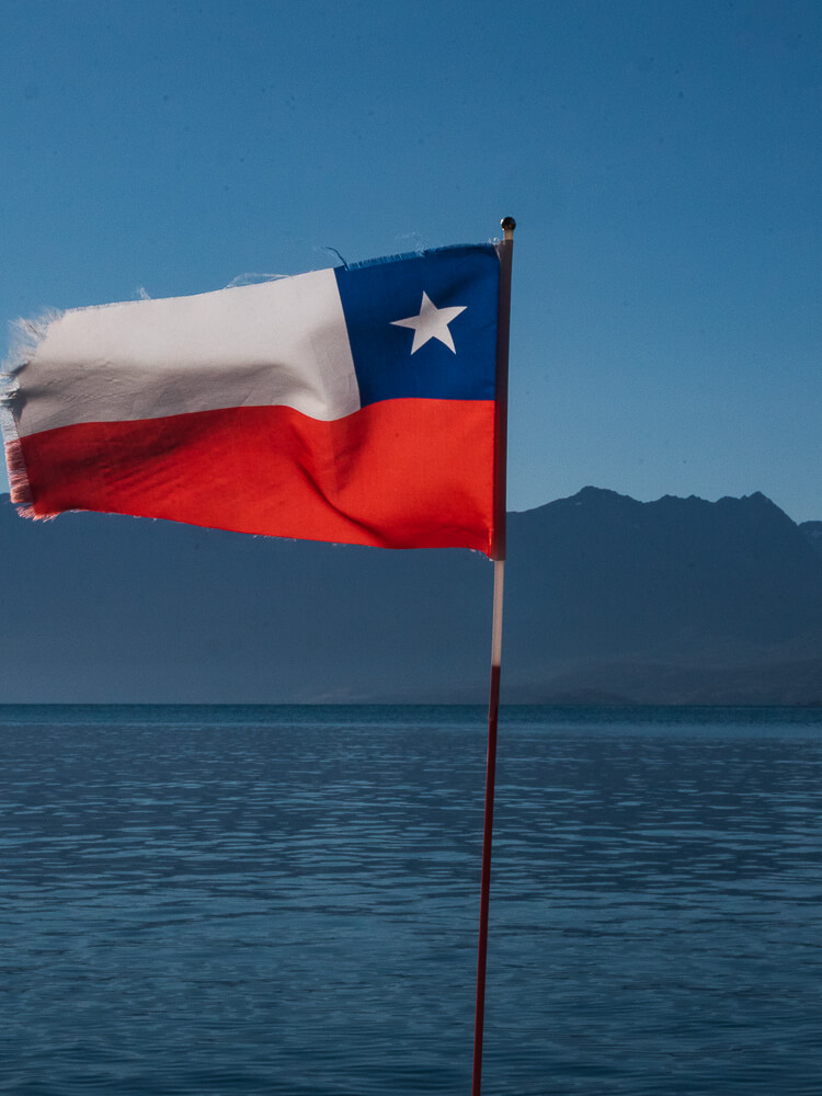 National flag of Chile blowing in wind