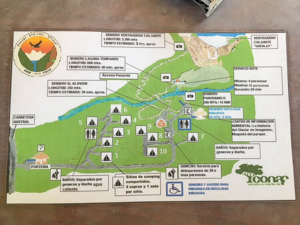 A map showing the trails leading to Ventisquero Colgante