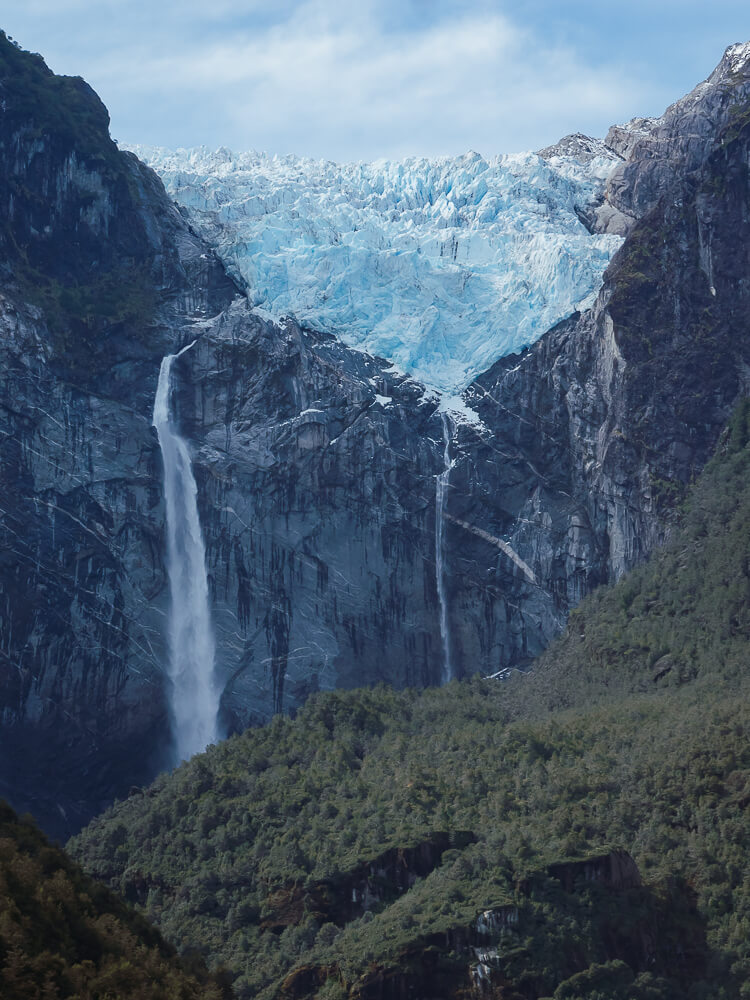 The hanging glacier, Chile, perched in a dramatic setting