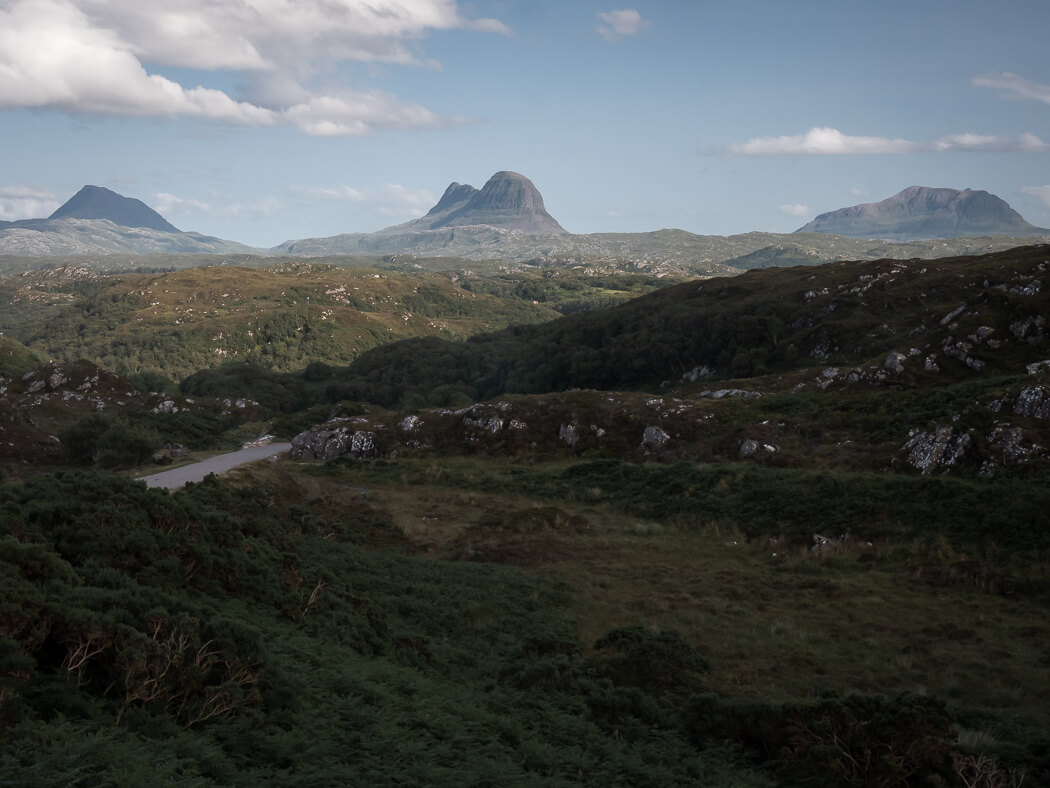 Assynt mountains along the North Coast 500 roadtri[