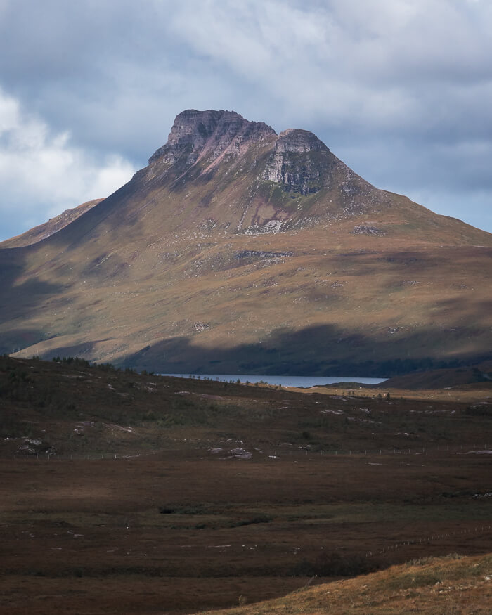 Stac Pollaidh mountain view from roadside Scotland